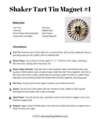 Shaker tart tin magnet tutorial