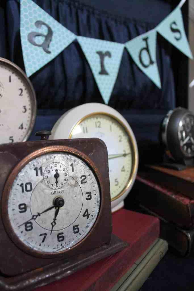 vintage clocks in suitcase