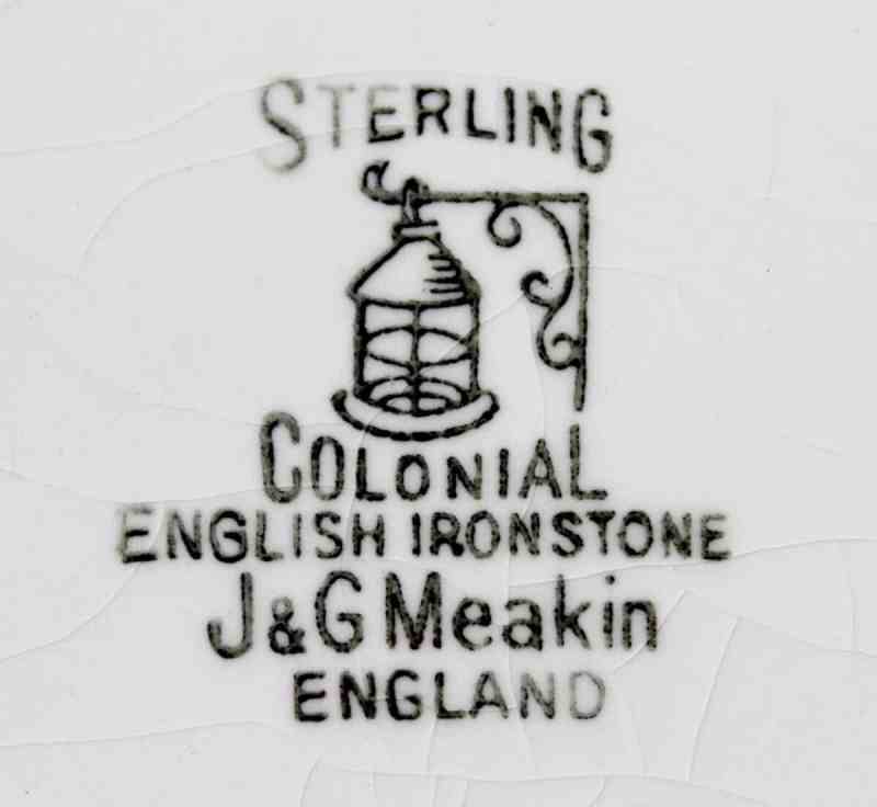 Vintage J & G Meaken Colonial ironstone plate mark
