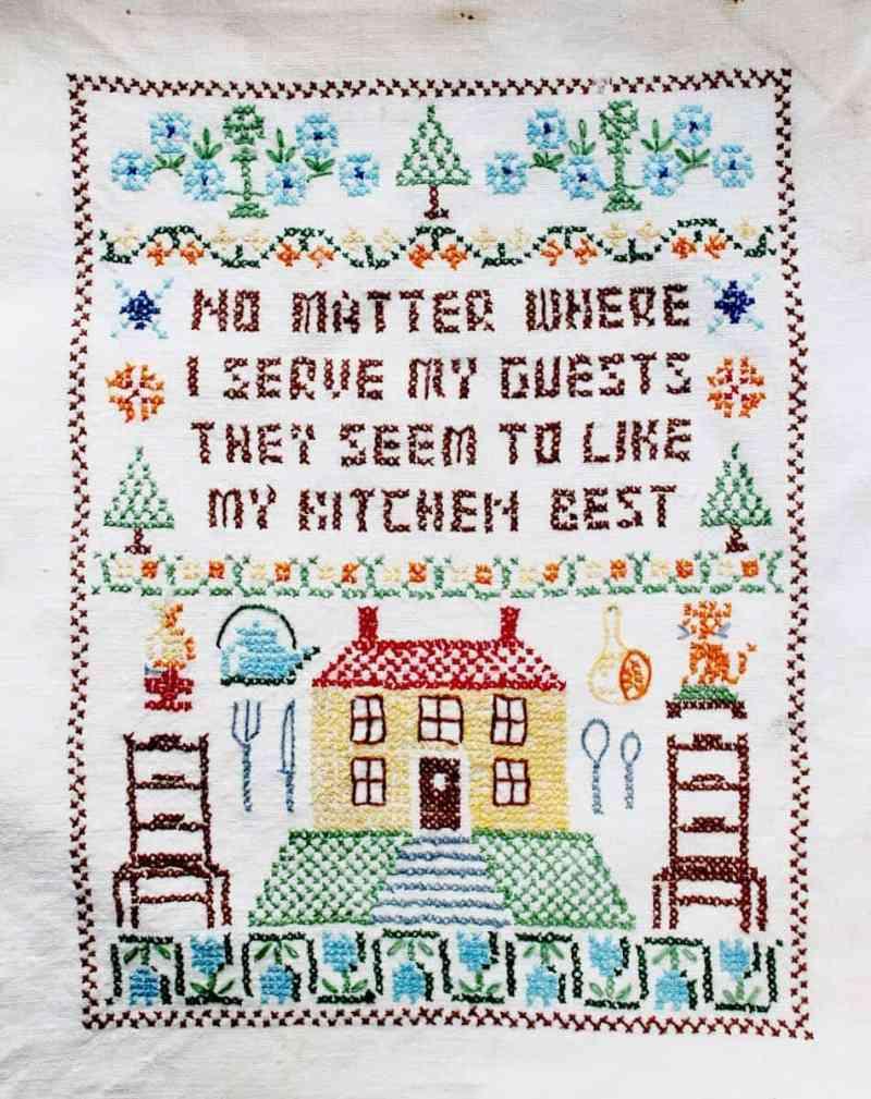 Vintage Cross Stitch No Matter Where I serve my friends (951x1200)