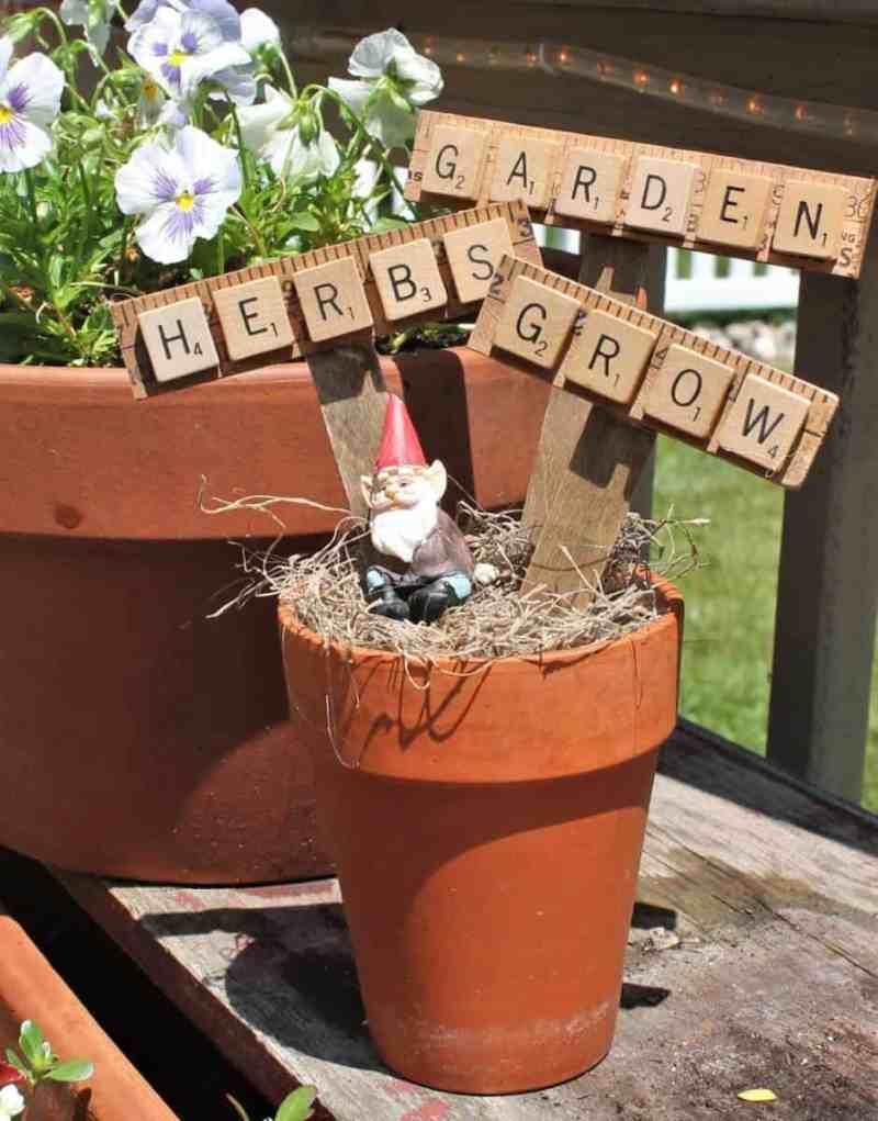 Garden Markers from vintage yardsticks and scrabble tiles