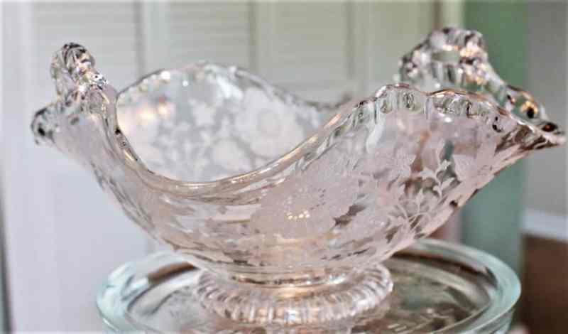 vintage elegant glass candy dish