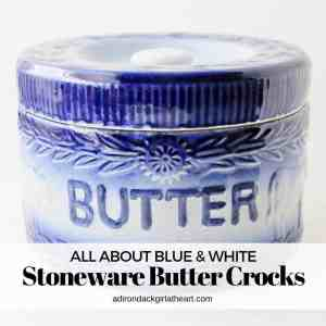 All About Antique Stoneware Blue & White Butter Crocks