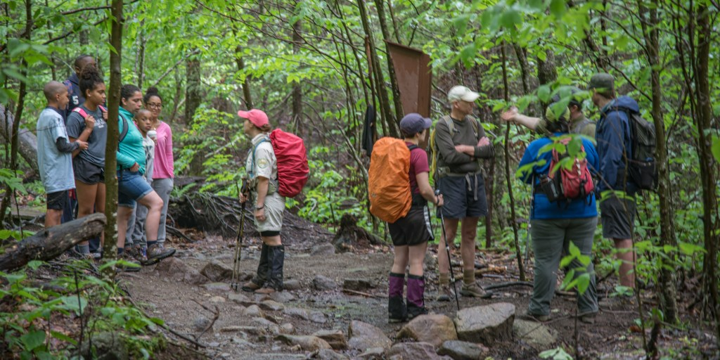 Hikers at cascade trailhead