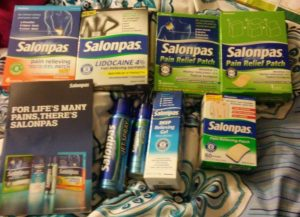 Santa's  Stocking Filled with Salonpas Pain Relief