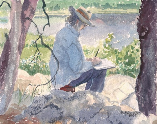 My Mom painting at Van Norden Lake July 3rd 1994 by Betty Polivka