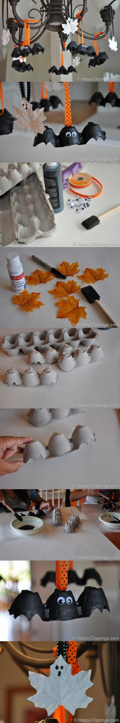 8. Halloween Egg Carton Bats and Leaf Ghosts