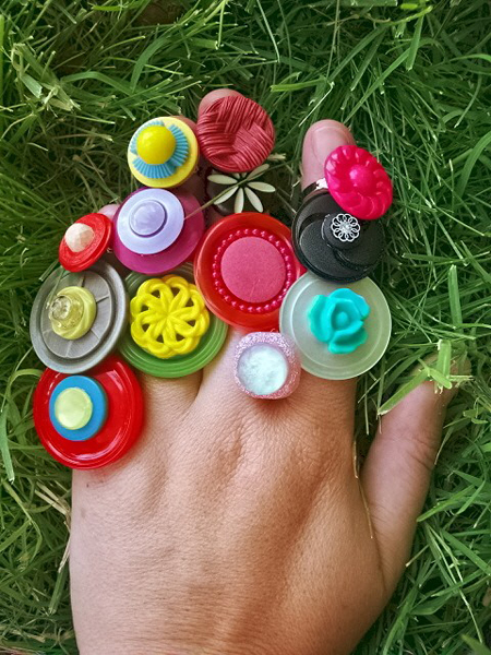 Vintage Button Rings of The Month Club