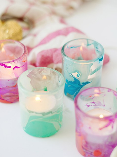 DIY Nail Polish Marbled Votive Cups