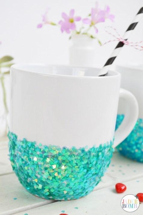 DIY Glittered Mugs