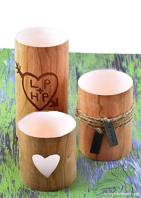 DIY Faux Wood Valentines Day Candles