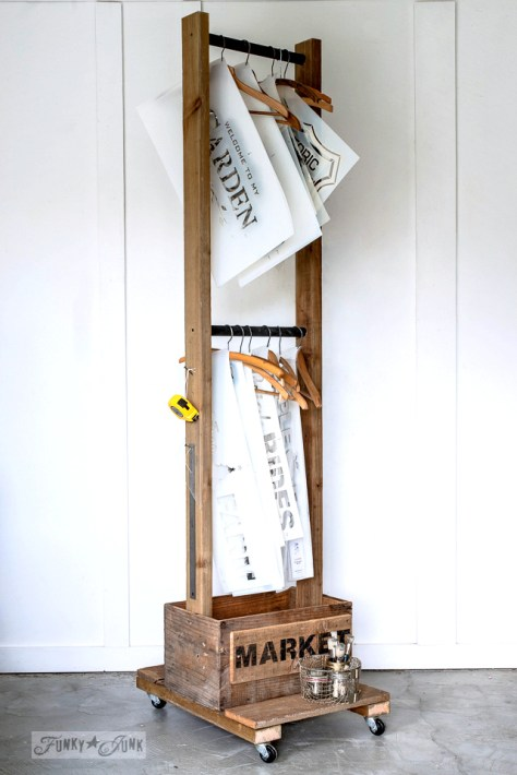 DIY Old Crate Stencil Storage Trolley Or Clothes Hanger
