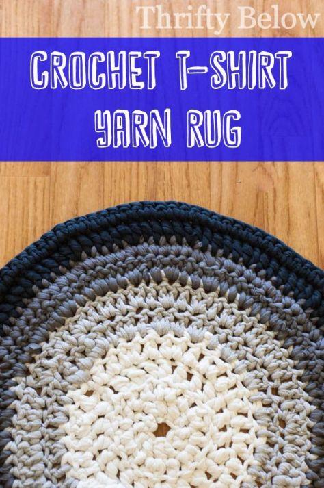 DIY Crochet T-Shirt Yarn Rug