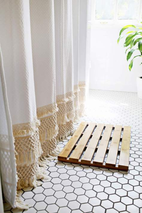 DIY Macrame Shower Curtain
