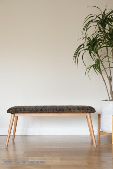 DIY Vintage Rug Upholstered Bench