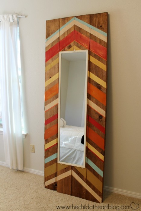 DIY Colorful Leaning Wood Mirror Frame