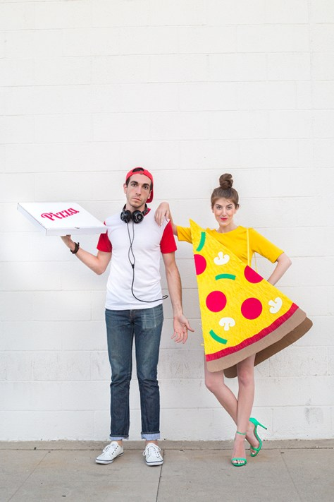 Pizza Slice and Delivery Boy Couples Halloween Costume