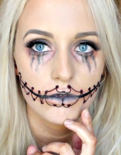Stitched Up Mouth Halloween Makeup
