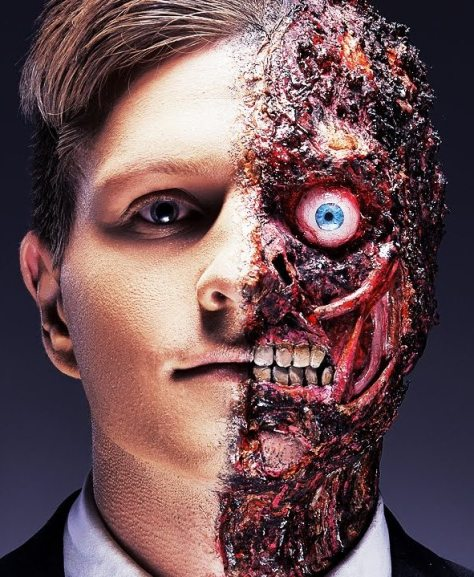 Two Face Halloween Makeup For Men