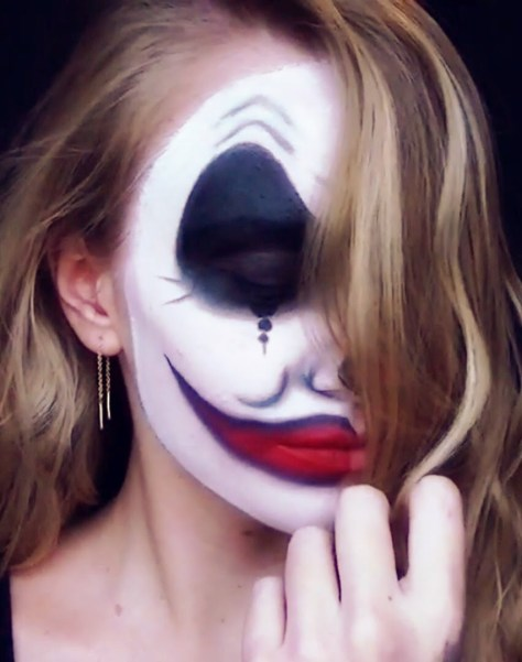 Evil Clown Half Face Halloween Makeup