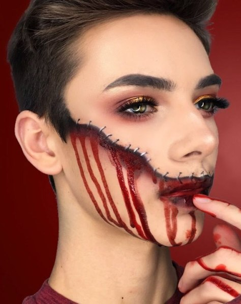 Bloody Stitched Face Halloween Makeup