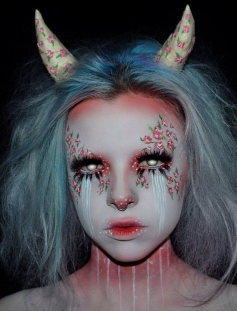 Rose Demon Halloween Makeup