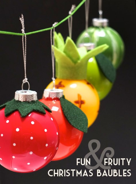 Retro Fruit Christmas Baubles
