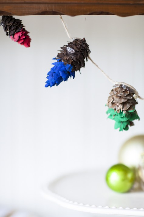 Rainbow Dipped Pine Cone Garland