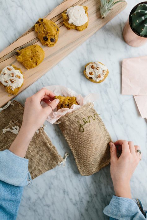 Embroidered Burlap Bags