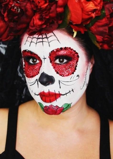Glittery Sugar Skull Halloween Makeup