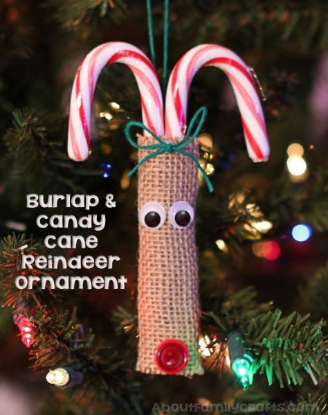 Burlap and Candy Cane Reindeer