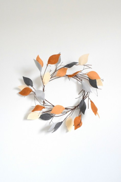 Twig Wreath with Felt Leaves