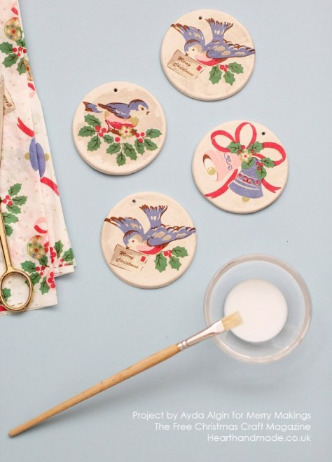 Decoupage Clay Ornaments