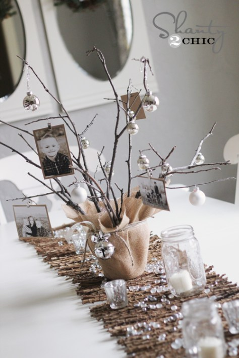 Tree Centerpiece With Photo Ornaments