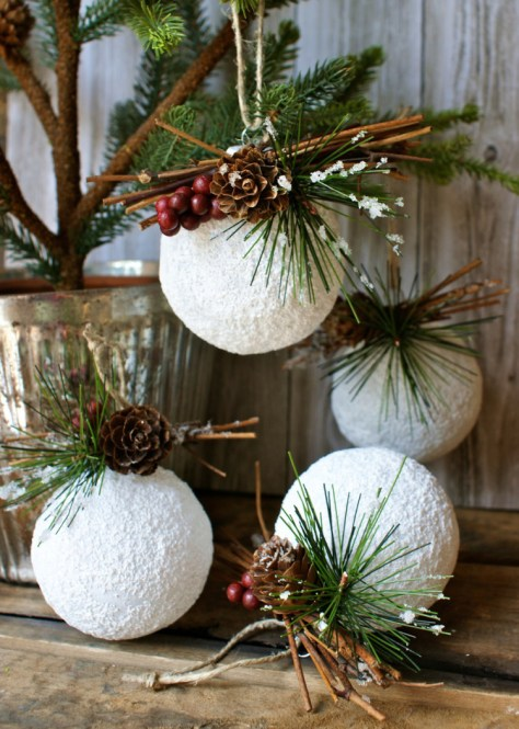 Rustic Styrofoam Balls Ornaments