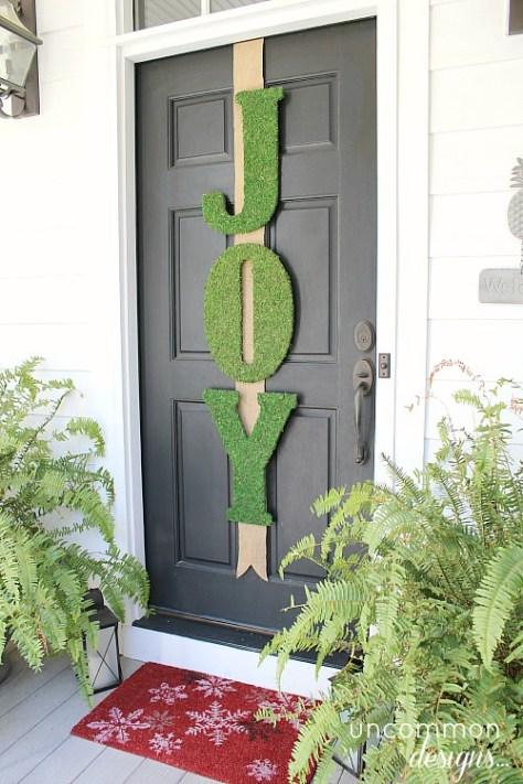 Moss Joy Sign on Front Door