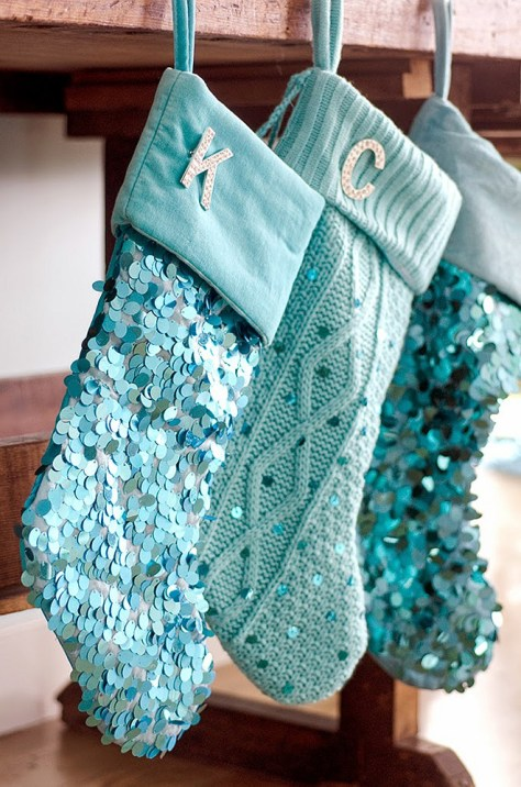 Turquoise Christmas Stockings