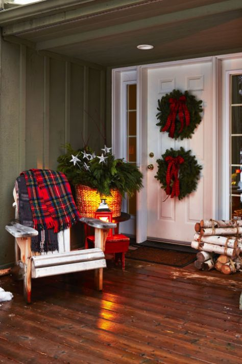 Pair of Wreaths in Porch