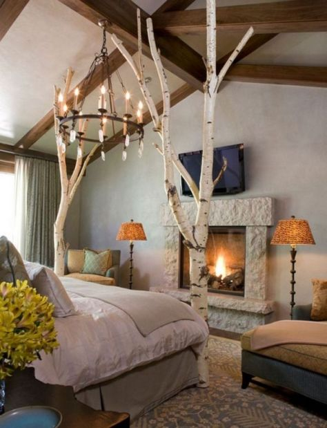 Rustic Bedroom With Tree Branches