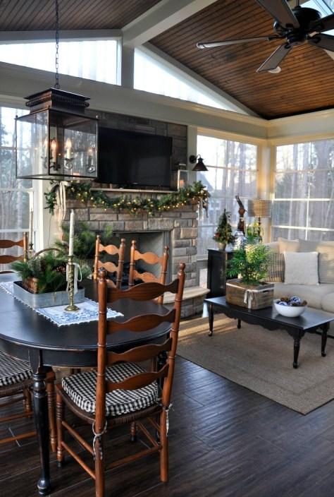 Back Porch Fireplace Decor