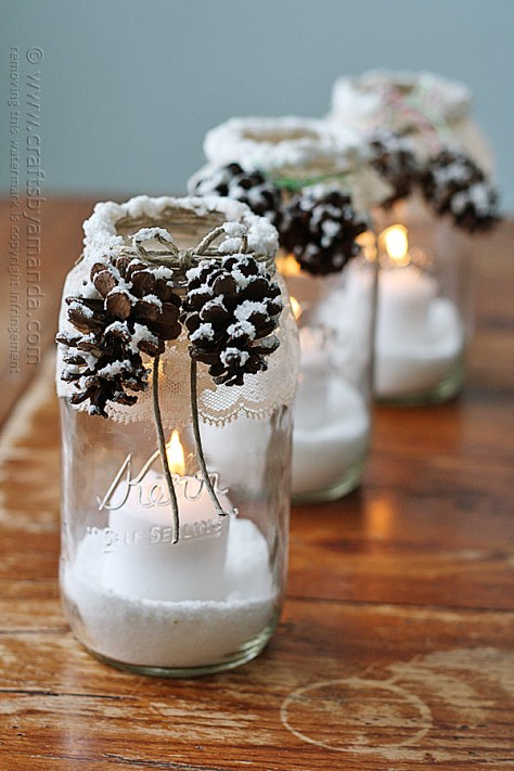 Snowy Pinecone Candle Jars
