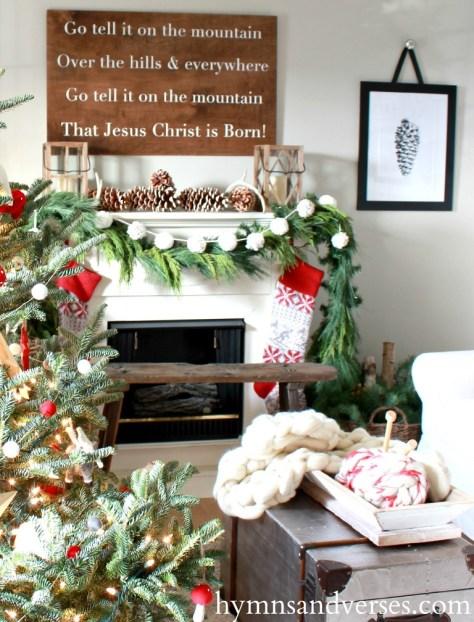 Vintage Pinecone Fireplace