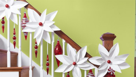 Paper Poinsettias Staircase Decoration