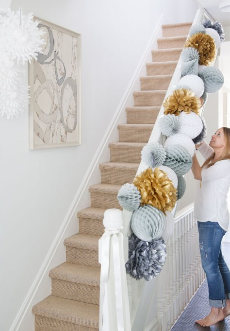 Paper Garland on Staircase