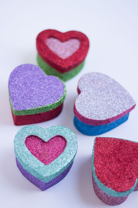 Glittered Heart Boxes