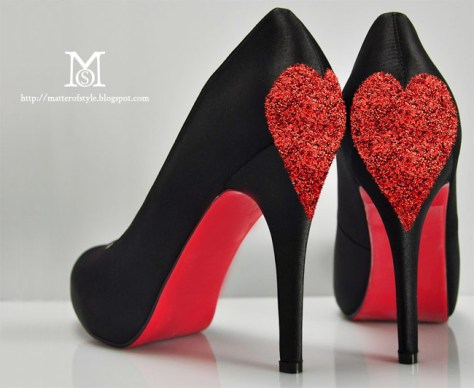 Love shoes with Glitter Hearts