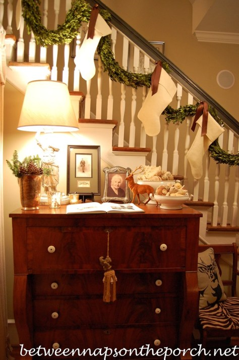 Staircase Decoration with Boxwood Garland