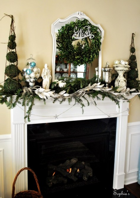 Silver and Green Mantel Decor