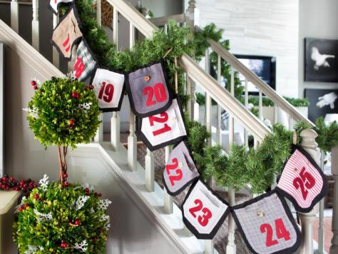 Staircase Decor With Chic Advent Calendar Garland
