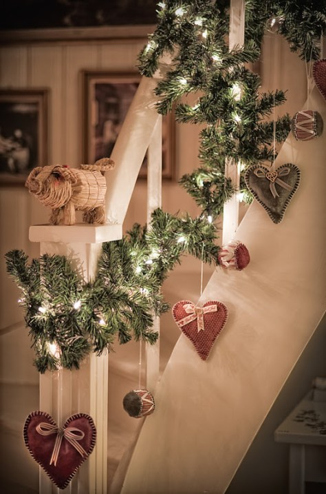 Staircase Decorated With Heart Ornaments